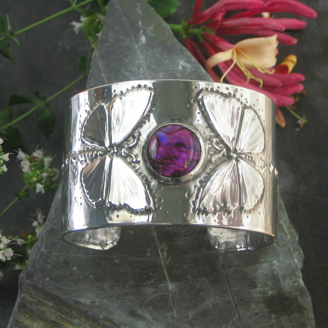 Butterfly and Pink Shell Pewter Cuff Bracelet