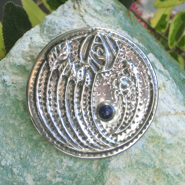 Mackintosh Brooch Handmade in Silver Pewter with Lapis Lazuli Stone