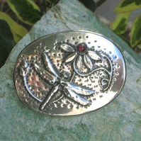 Dragonfly Garnet Pewter Brooch