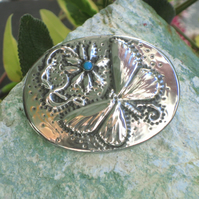 Butterfly Turquoise Brooch
