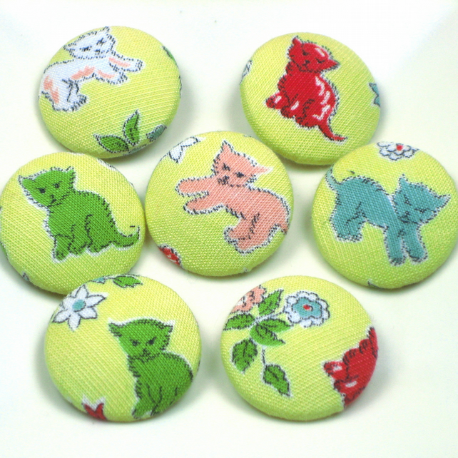 Seven Kitten Buttons in Vintage Yellow Fabric