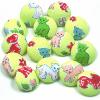 Set of Seven Puppies and Kittens Vintage Handmade 25mm Buttons in Yellow Fabric