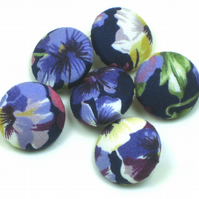 25mm Buttons, Vintage Rose and Hubble Pansy Fabric
