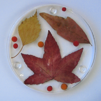 Autumn Leaves and Berries Coaster