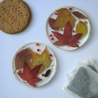 Pair of Autumn Leaf Resin Coasters with Real Leaves