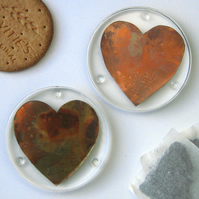 Pair of Coasters, Copper Hearts in Resin