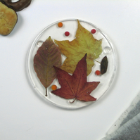 Leaves in Ice Resin Coaster with Real Autumn Leaves