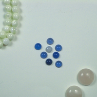 Blue Agate Cabochons and Blue Lace Agate Cabochon, 6mm
