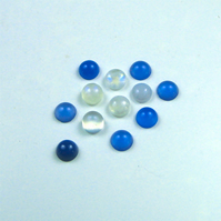 Mixed 6mm Gemstone Cabochons, Rainbow Moonstone and Blue Agate