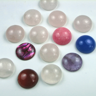Gemstone Cabochons,15mm Rose Quartz,Carnelian,Calcite,Paua Shell,Agate,Amethyst