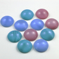 Eleven Acrylic Cabochons, 18mm, Pink, Blue and Green, Moonstone Effect