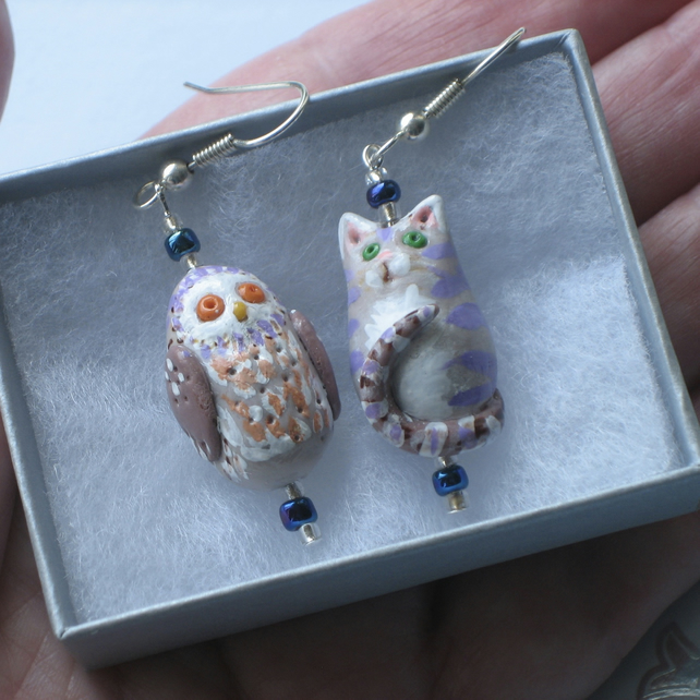 Handmade Earrings, The Owl and the Pussycat
