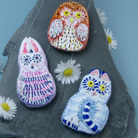 Half Price! Set of Three Fridge Magnets, Cat, Owl and Rabbit