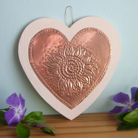 Copper Sunflower Hanging Heart Decoration