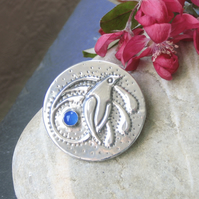 Pewter Bird Brooch with Blue Agate