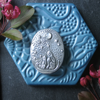 Moongazing Hares Brooch with Rainbow Moonstone Moon