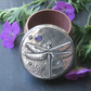 Handmade Dragonfly Amethyst Pewter and Wood Jewellery Box