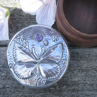 Butterfly Jewellery Box in Silver Pewter and Wood