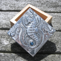 Seahorse and Blue Shell Box Handmade in Pewter