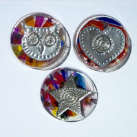 Set of Three Magnets, Owl, Heart and Star
