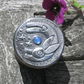 Tiny box, Leaping Hare Design in Pewter with Blue Agate
