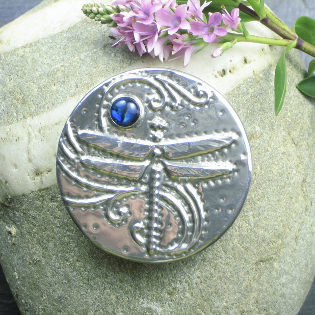 Dragonfly Brooch in Pewter with Blue Abalone Shell