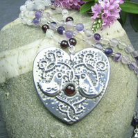 Silver Heart Necklace in Pewter with Garnet and Gemstones, Birds Design
