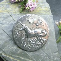 Pewter and Moonstone Unicorn Brooch