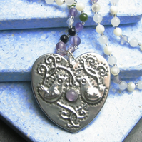 Heart Necklace with Amethyst and Gemstones, Birds Design