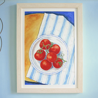 Tomatoes on the Vine, Watercolour Painting from Life