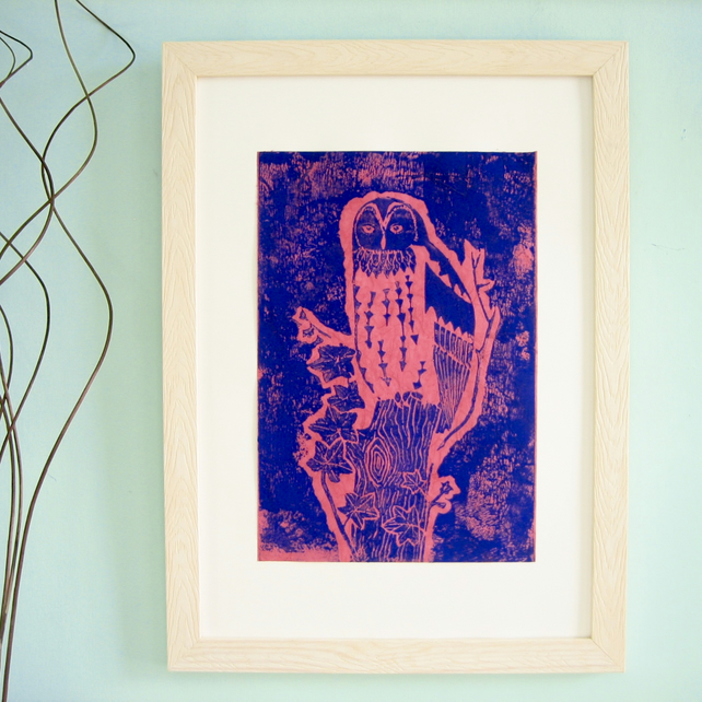 Picture of an Owl, Linocut Print, Blue on Pink