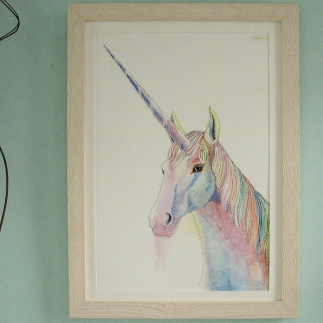 Original Painting of a Unicorn Head in Watercolour