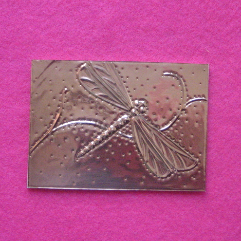 Reduced! Copper ACEO,dragonfly design