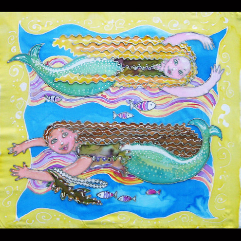 Swimming mermaids,silk painting