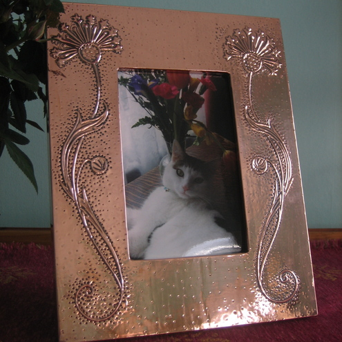 Copper photo frame,Arts and Crafts style