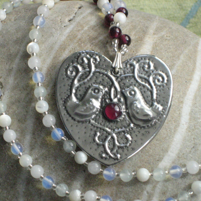 Silver Pewter Heart Birds Necklace with Garnet