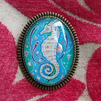 Seahorse Brooch, Miniature Picture in Antique Bronze Setting