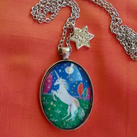 Miniature Unicorn Painting, Pendant Necklace with Star Charm