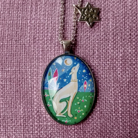 Painted Greyhound Pendant Necklace with Star Charm