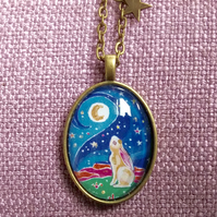 Moon Gazing Hare Antique Bronze Painted Necklace