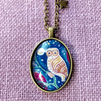Owl Pendant Necklace,  Antique Bronze with Star Charm
