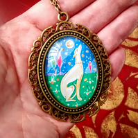Greyhound Pendant Necklace,Miniature Painting in an Antique Bronze Setting