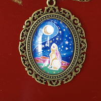 Moon Gazing Hare Necklace, Miniature Painting Pendant