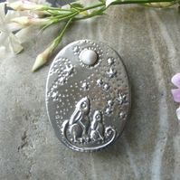 Moongazing Hares Brooch with Swarovski Pearl Moon