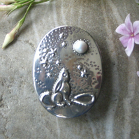 Moongazing Hare Brooch with Swarovski Glass Pearl Moon