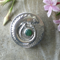 Pewter Chameleon Brooch with Green Onyx