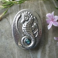 Pewter Seahorse Brooch with Blue Shell