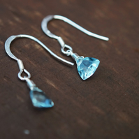 AAA Sky Blue Topaz, Sterling Silver, Water Droplets, Trillion Cut, Drop Earrings