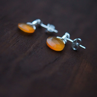 AAA Carnelian, Sterling Silver, Water Droplets, 9mm, Stud Earrings, Light Orange