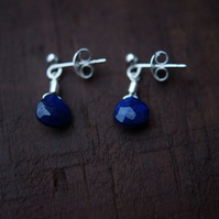 Blue Sapphire, Sterling Silver, Water Droplets, 7mm, Stud Earrings